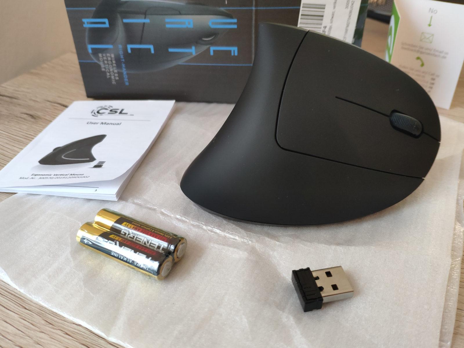 Packungsinhalt der CSL Vertikale Maus