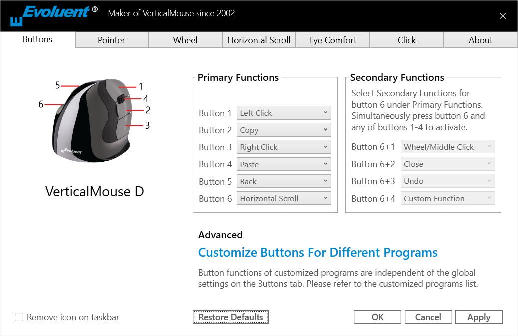 Evoluent Vertical Mouse einstellen