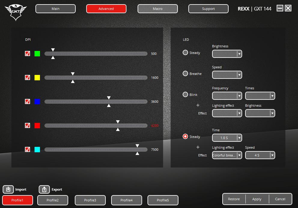 Trust GXT 144 Rexx - Test der Software erweiterte Einstellungen