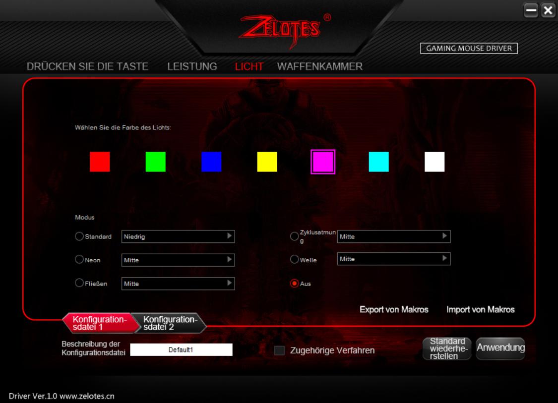 Test der Software: Zelotes Licht