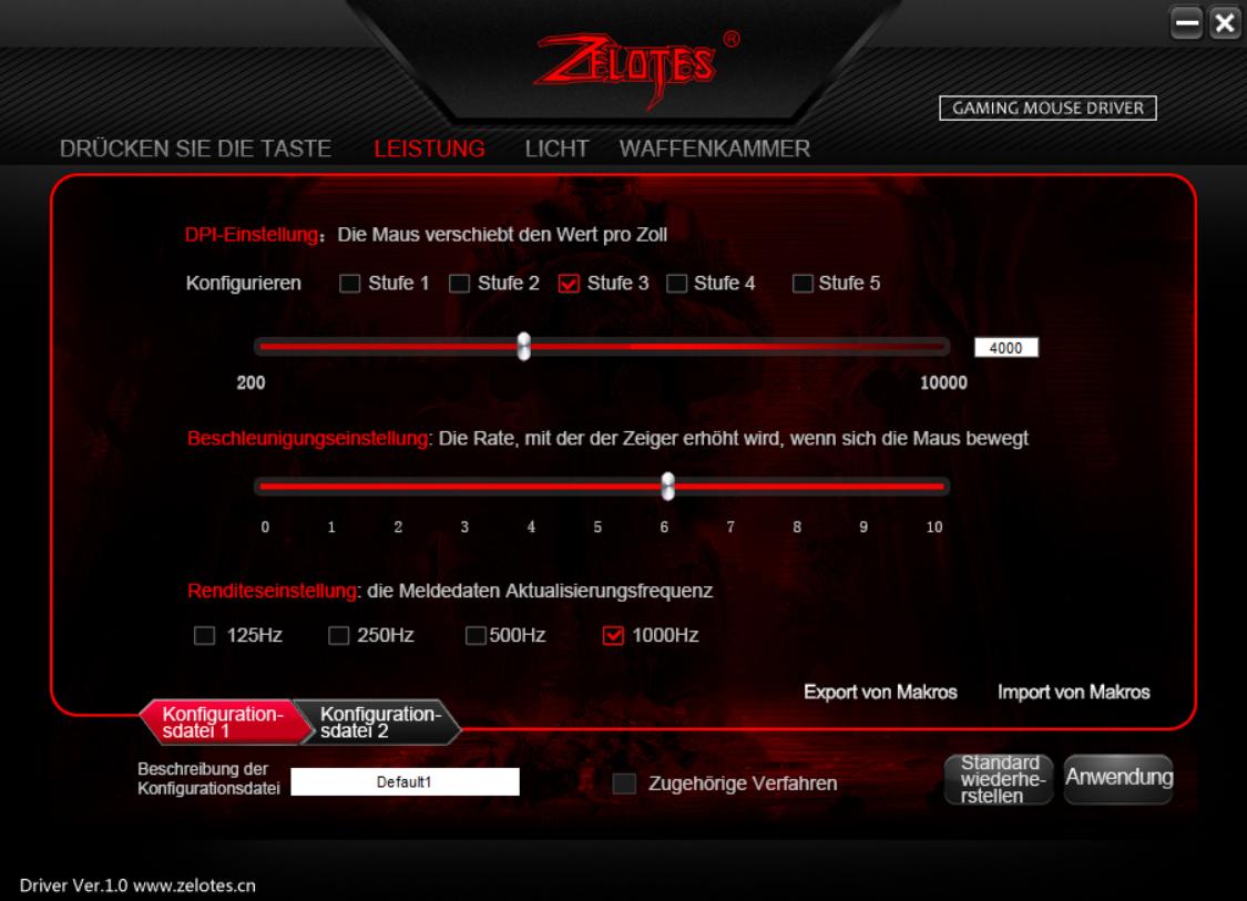 Test der Software: Zelotes Zeigererinstellungen
